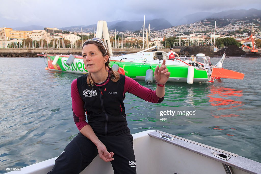 British sailor Samantha Davies talks to the press after she arrived on November 17, 2012 in Funchal, on the island of Madeira, Portugal. Davies, who was eliminated from the solo, round-the-world Vendee Globe after the dismasting of her yacht, limped into Madeira on November 17. The 38-year-old, the only woman in the world's most gruelling yacht race, saw her boat dismasted on Thursday evening in strong winds about 130 nautical miles northeast of Madeira, the Portuguese island in the Atlantic Ocean. AFP PHOTO / GREGORIO CUNHA