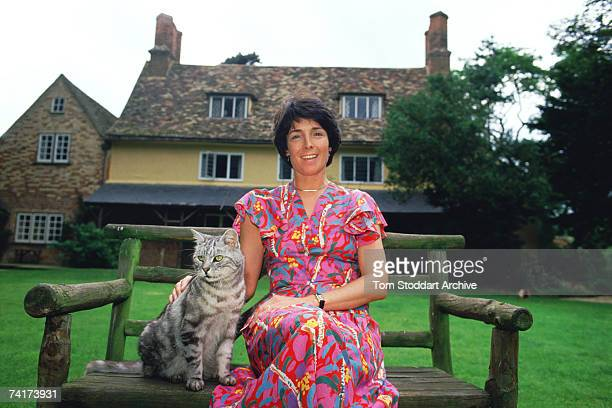 British scientist Mary Archer Chairman of the National Energy Foundation and wife of the disgraced Lord Jeffrey Archer sitting in the garden of their...