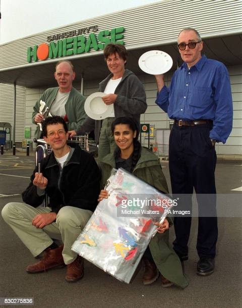 British sculptors Richard Deacon Alison Wilding Richard Wentworth Antony Gormley and Permindar Kaurat a photocall outside a Sainsbury's Homebase...