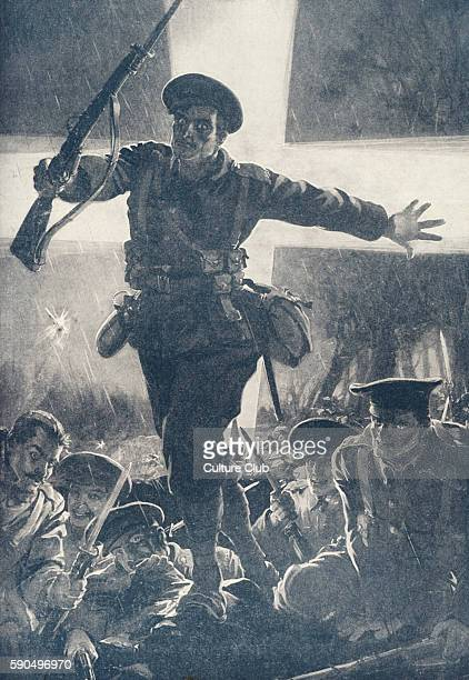 British searchlights find the position of the German forces and signal to the British troops by flashing the sign of the cross Soldiers jump from the...