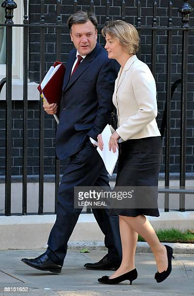 British Secretary for Education and Children Ed Balls and Chief Secretary to the Treasury Yvette Cooper arrive for a Cabinet meeting at 10 Downing...