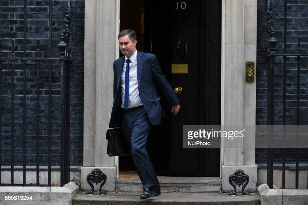 British Secretary for Work and Pensions David Gauke leaves Downing Street after attending the weekly cabinet meeting London on October 24 2017
