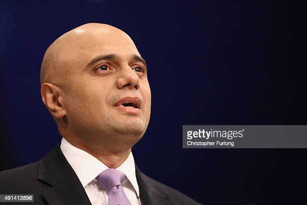 British Secretary of State for Business Innovation and Skills Sajid Javid addresses delegates on the second day of the annual Conservative party...