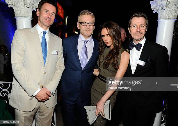 British Secretary of State for Culture Olympics Media and Sport Jeremy Hunt actor Kenneth Branagh designer Victoria Beckham and actor Gary Oldman at...