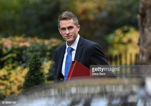 British Secretary of State for Defence Gavin Williamson arrives at 10 Downing Street for the weekly Cabinet meeting on November 14 2017 in London...