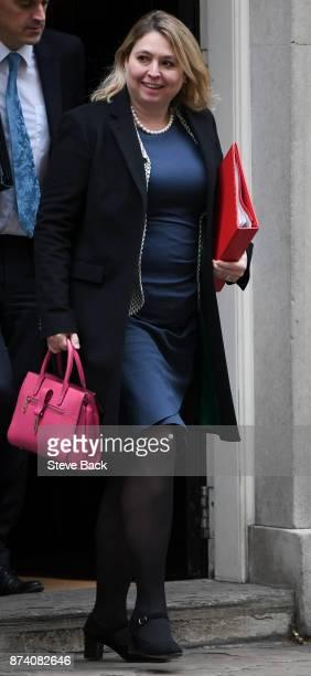 British Secretary of State for Digital Culture Media and Sport Karen Bradley leaving 10 Downing Street November 14 2017 in London England