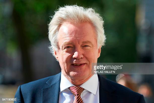 British Secretary of State for Exiting the European Union David Davis arrives at the Cabinet Office in central London on July 14 2016 on the first...