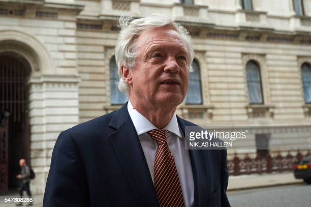 British Secretary of State for Exiting the European Union David Davis arrives at the Treasury in central London on July 14 2016 on the first full day...