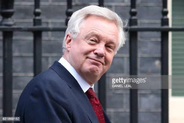 British Secretary of State for Exiting the European Union David Davis leaves after attending the weekly meeting of the Cabinet at 10 Downing Street...