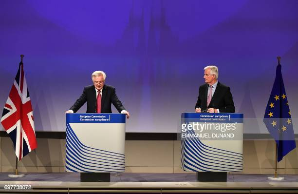 British Secretary of State for Exiting the European Union David Davis and European Commission member in charge of Brexit negotiations with Britain...