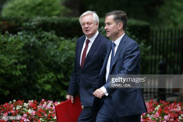 British Secretary of State for Exiting the European Union David Davis and Britain's Work and Pensions Secretary David Gauke arrive to attend a...