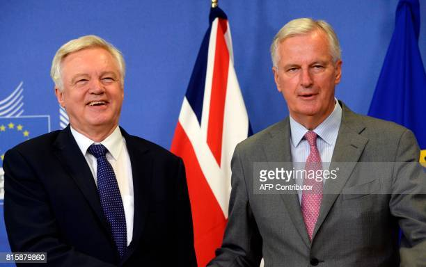 British Secretary of State for Exiting the European Union David Davis and European Union Chief Negotiator in charge of Brexit negotiations with...