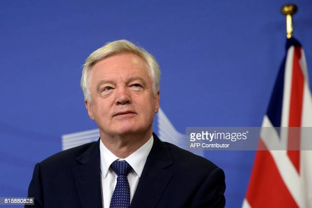 British Secretary of State for Exiting the European Union David Davis speaks during a joint statement with European Union Chief Negotiator in charge...