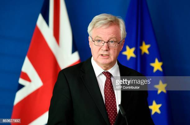 British Secretary of State for Exiting the European Union David Davis talks during a press conference along side the European Commission member in...