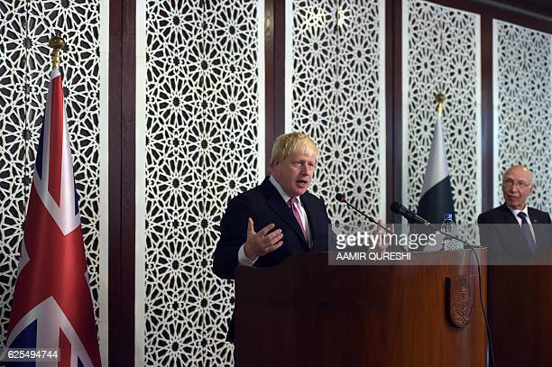 British Secretary of State for Foreign Affairs Boris Johnson speaks during a joint press conference with Pakistan's National Security Advisor Sartaj...