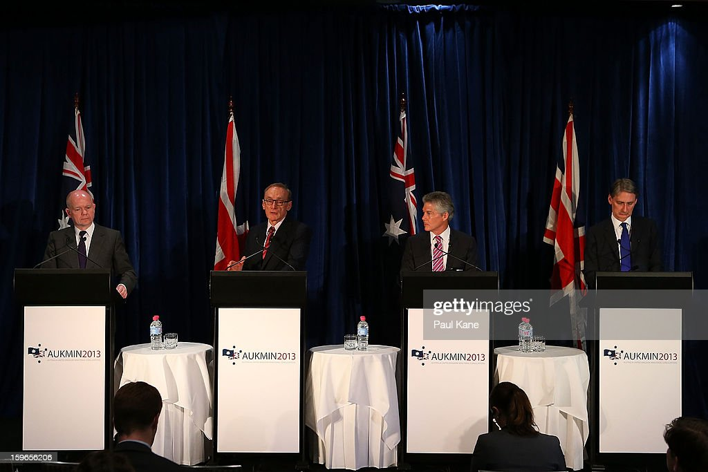 British secretary of state for foreign and commonwealth affairs William Hague, Australian foreign affairs minister Bob Carr, Australian defence minister Stephen Smith and British secretary of state for defence Philip Hammond address the media during the annual Australia-United Kingdom Ministerial meetings on January 18, 2013 in Perth, Australia. The ministers meet to discuss defence and foreign affairs during the annual one-day summit.