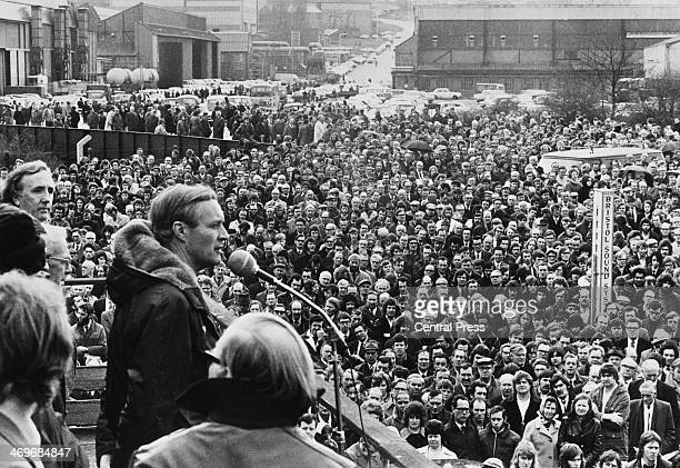 British Secretary of State for Industry and Labour MP for Bristol South East Tony Benn addressing a mass rally of Concorde workers employed by the...