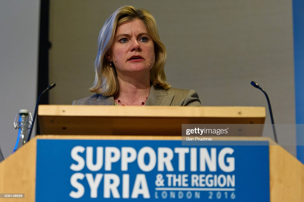 British Secretary of State for International Development Justine Greening speaks during the Supporting Syria And The Region London 2016 conference on February 3, 2016 in London, England. The conference will bring together world leaders and representatives from NGO's to discuss raising extra money to support civilians in the region which has been affected by civil war since 2011.