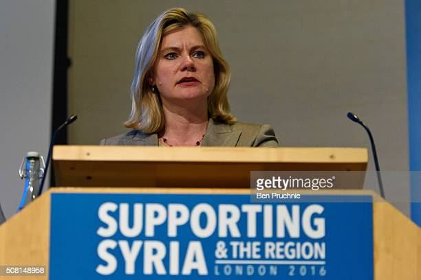 British Secretary of State for International Development Justine Greening speaks during the Supporting Syria And The Region London 2016 conference on...