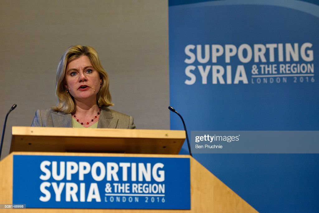 British Secretary of State for International Development <a gi-track='captionPersonalityLinkClicked' href=/galleries/search?phrase=Justine+Greening&family=editorial&specificpeople=2466449 ng-click='$event.stopPropagation()'>Justine Greening</a> speaks during the Supporting Syria And The Region London 2016 conference on February 3, 2016 in London, England. The conference will bring together world leaders and representatives from NGO's to discuss raising extra money to support civilians in the region which has been affected by civil war since 2011.