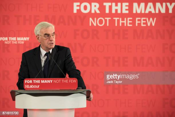 British Shadow Chancellor John McDonnell gives a prebudget speech at Church House on November 16 2017 in London England Mr McDonnell today announced...