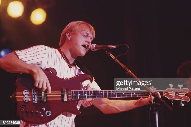 British singer and bassist Mark King of Level 42 performs on stage at Glastonbury Festival 22nd June 1986