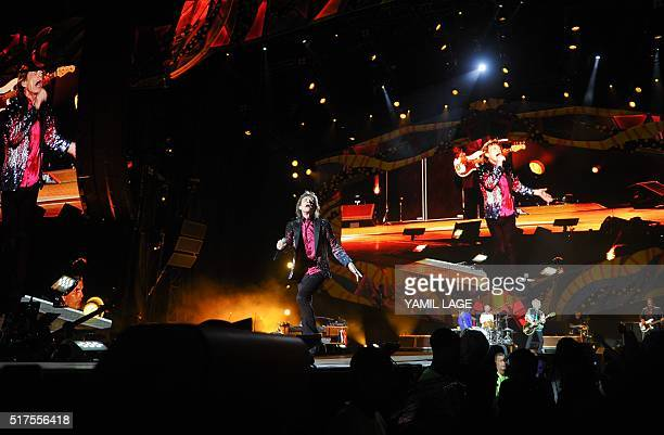 British singer and frontman of rock band The Rolling Stones Mick Jagger performs during a concert at Ciudad Deportiva in Havana Cuba on March 25 2016...