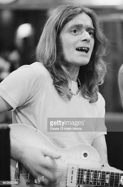 British singer and musician Henry McCullough performs on a Gibson Les Paul Goldtop guitar 1977