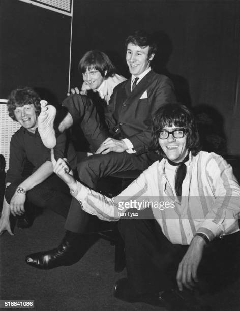 British singer and pianist Freddie 'Fingers' Lee who plays the piano with both hands and feet with fellow rock 'n' roll enthusiasts who are also...