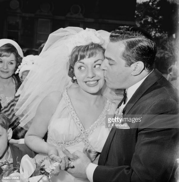 British singer and radio presenter Valerie Masters and German pianist Dick Katz get married at Hampstead Registrar Office London UK 22nd May 1961