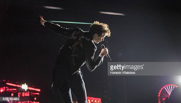 British singer and songwriter Mika performs during the second day of Rock in Rio Lisbon on May 20 2016 in Lisbon Portugal