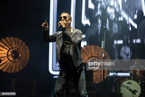 British singer and songwriter Richard Ashcroft plays on stage at O2 Academy Brixton London on July 1 2017 He was the lead singer and occasional...