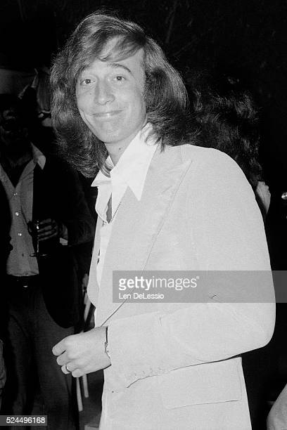 British singer and songwriter Robin Gibb at a party celebrating the 20th Anniversary of the Bee Gees as a vocal group