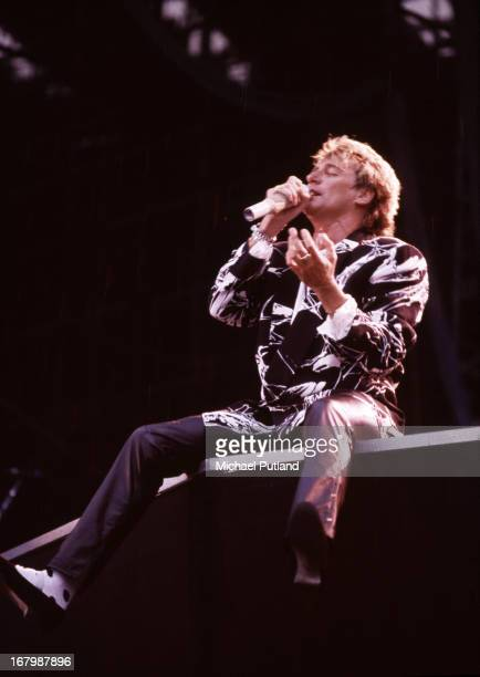 British singer and songwriter Rod Stewart performing at Wembley Stadium London 15th July 1986