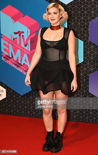 British singer AnneMarie poses on the red carpet at the MTV Europe Music Awards on November 6 2016 at the Ahoy Rotterdam in Rotterdam / AFP / JOHN...