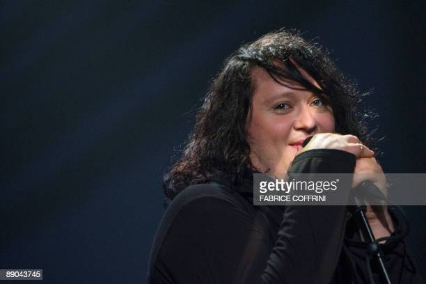 British singer Antony Hegarty from the group 'Antony and the Johnsons' performs with The Montreux Orchestra on the Miles Davis stage during the 43rd...