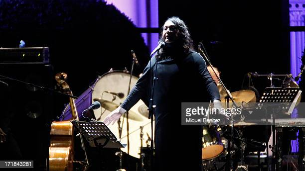 British singer Antony Hegarty of the American band Antony and The Johnsons performs during the 'Jardins de Pedralbes Festival' on June 28 2013 in...