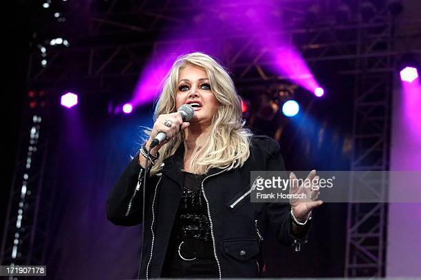 British singer Bonnie Tyler performs live during the Stadtwerkefestival on June 29 2013 in Potsdam Germany