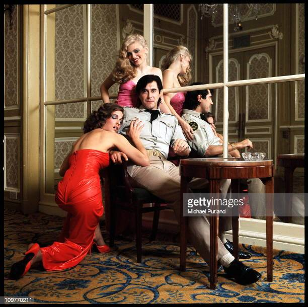 British singer Bryan Ferry of Roxy Music with backing singers Jacqui Sullivan and Doreen Chanter at the Montcalm Hotel London 31st October 1975
