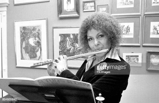 British singer Cleo Laine in an instrumental mood at her home in Wavendon