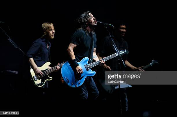 British singer Dave Grohl of Foo Figthers performs live on stage during the 2012 Lollapalooza Music Festival at OHiggins Park on April 01 2012 in...