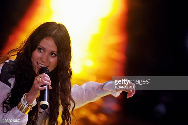 British singer Eliza Doolittle performs at the Ariston theatre of San Remo during the 61th Italian Music Festival on February 16 2011 AFP PHOTO /...
