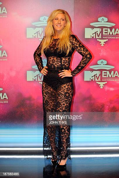 British singer Ellie Goulding poses as she arrives to attend the MTV European Music Awards 2013 at the Ziggo Dome on November 10 2013 in Amsterdam...
