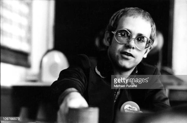 British singer Elton John interviewed at Rocket Records on 6th June 1973