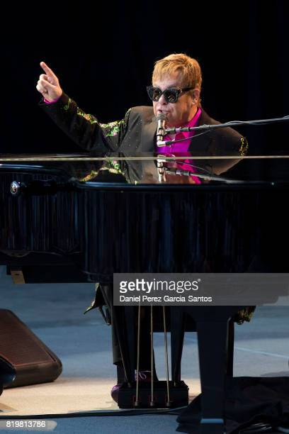 British singer Elton John performs on stage during a concert at the Starlite music festival on July 20 2017 in Marbella Spain