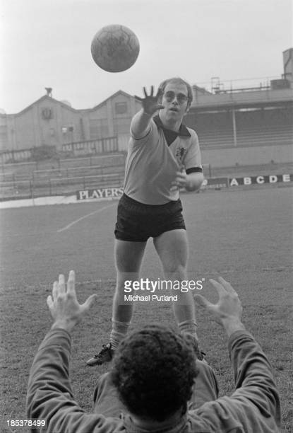 British singer Elton John training at Watford Football Club's Vicarage Road ground in Watford Hertfordshire November 1973