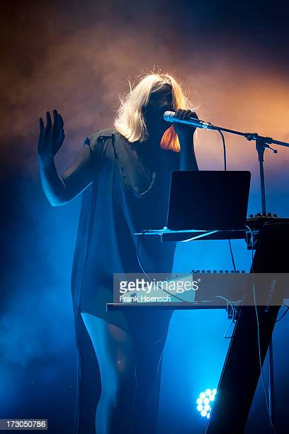 British singer Emika performs live during a concert at the Foreign Affairs Festival at Haus der Berliner Festspiele on July 5 2013 in Berlin Germany