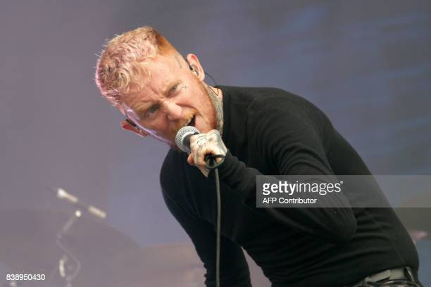 British singer Frank Carter performs on stage with his band Frank Carter The Rattlesnakes on August 25 2017 during the Rock en Seine music festival...