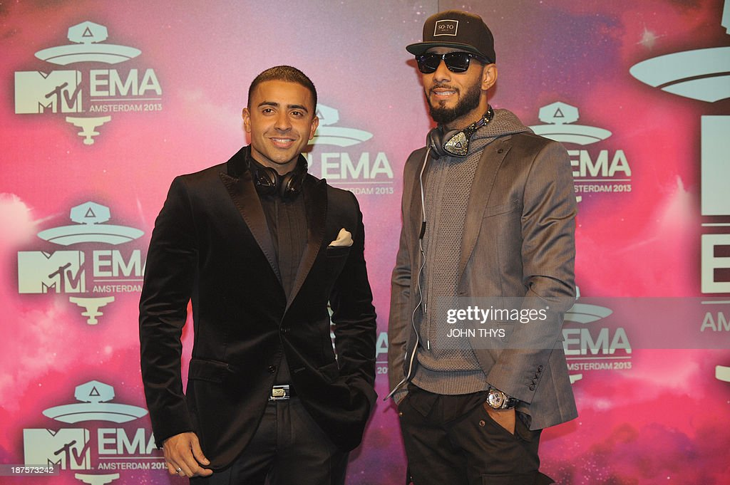 British singer Jay Sean (L) and US rap singer Swizz Beatz pose as they arrive to attend the MTV European Music Awards (EMA) 2013 at the Ziggo Dome on November 10, 2013 in Amsterdam, The Netherlands.