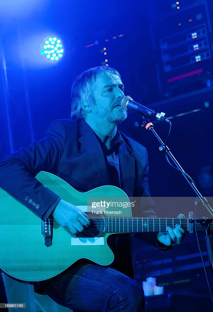 British singer <a gi-track='captionPersonalityLinkClicked' href=/galleries/search?phrase=John+Bramwell&family=editorial&specificpeople=5737976 ng-click='$event.stopPropagation()'>John Bramwell</a> of I Am Kloot performs live during a concert at the Lido on March 17, 2013 in Berlin, Germany.